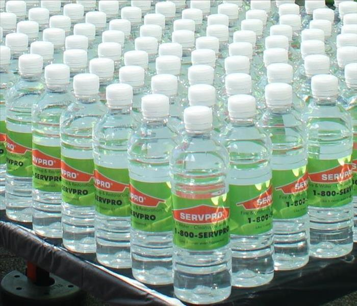rows of SERVPRO labeled bottled water