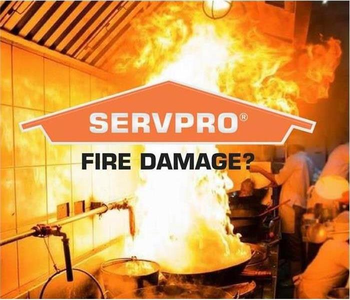 "Fire in Kitchen with SERVPRO logo and ""Fire Damage?"""