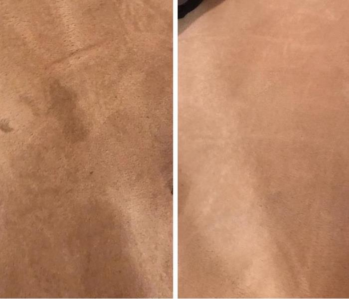 before and after of cream carpet with dirty stain on the left and restored look on the right