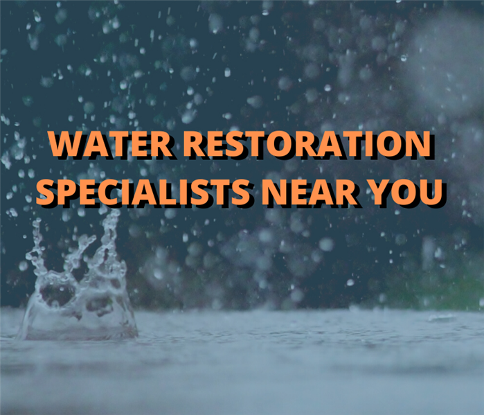 graphic with water damage restoration specialists