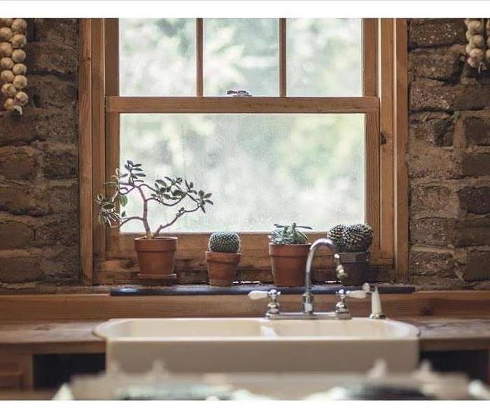 Picture of a kitchen with a farmhouse sink. Plants sitting on a windowsill in front of it.